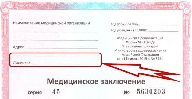 номер лицензии мед справки