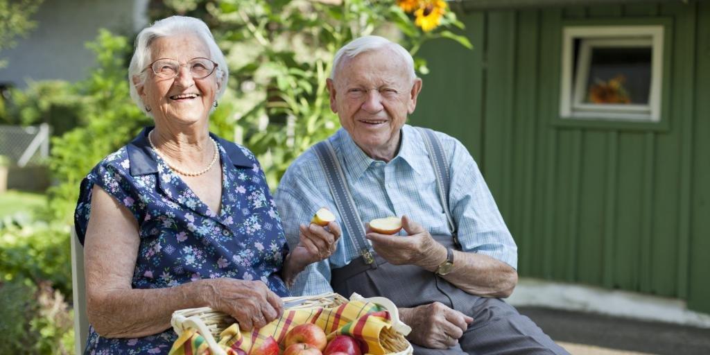 Пенсионеры в саду
