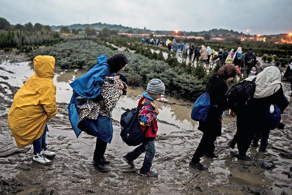 Беженцы идут в Словению