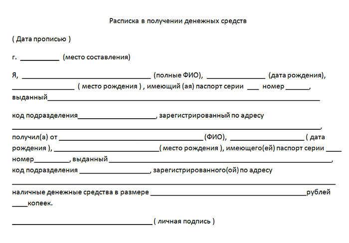 Образец расписки