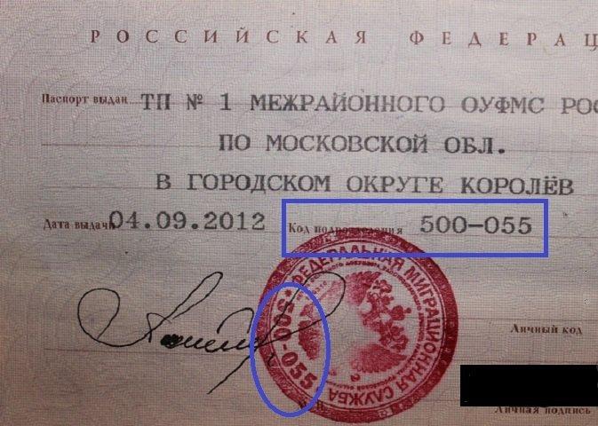 код подразделения в паспорте