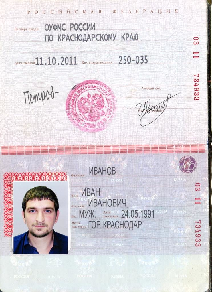 Паспорт пример