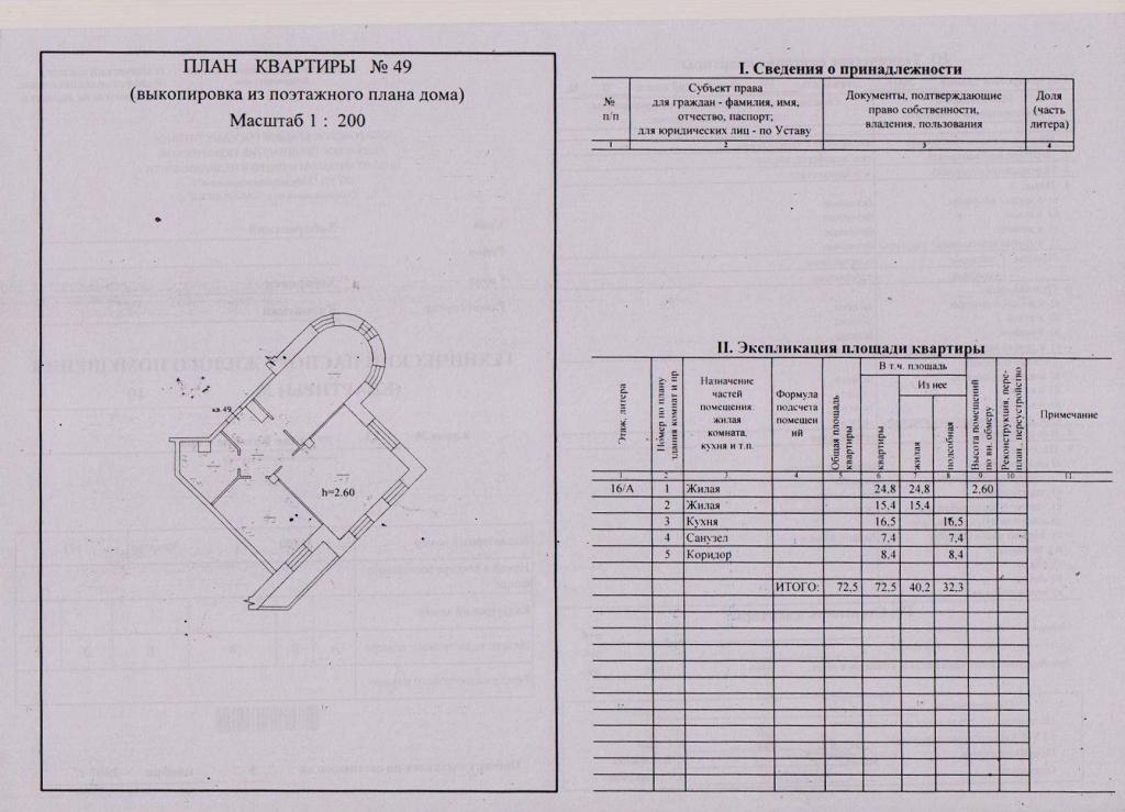 Образец технического паспорта жилья